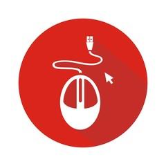 Icono mouse rojo botón sombra