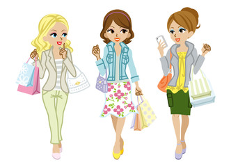 Shopping girls, Spring clothes