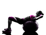 woman fitness ball crunches   exercises silhouette