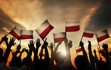 Group People Waving Polish Flags Back Lit Concept
