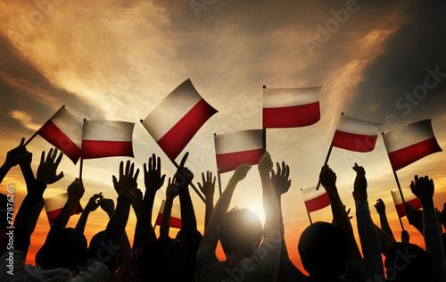 Group People Waving Polish Flags Back Lit Concept