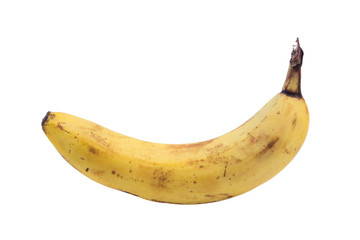 Closeup of one ripe banana, isolated on white background