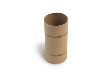 Closeup of one empty cardboard toilet roll, isolated on white