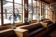 Leinwandbild Motiv modern wooden interior at Alpine ski resort