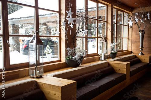 Foto op Canvas Alpen modern wooden interior at Alpine ski resort