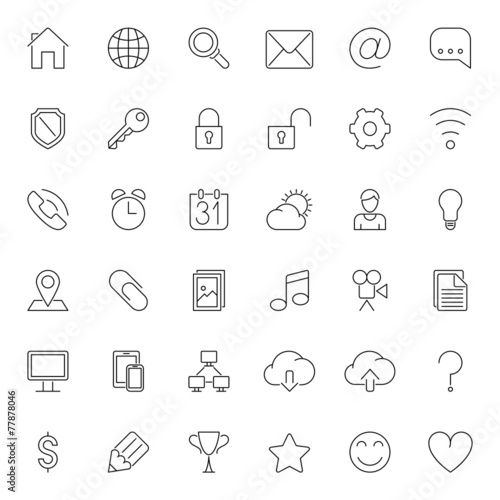 Thin Line Web Icons poster