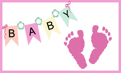 Baby girl feet prints greeting card vector