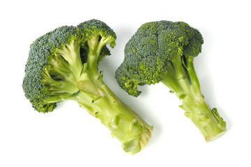 Two broccoli on white