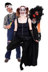 drei lustige Halloween Monster schauen zum Betrachter