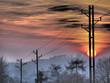 canvas print picture - Strommast und Sonnenuntergang