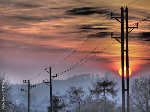 canvas print picture Strommast und Sonnenuntergang