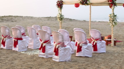 the place of conducting Indian wedding ceremony with decorated t