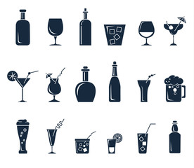 Set of black flat icons about beverage