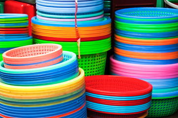 Colorful plastic kitchenware background on a market in China