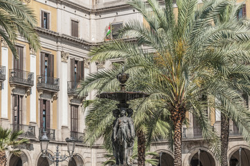 Royal Square (Placa Reial) in Barcelona, Spain