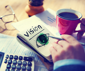 Businessman Notepad Word Vision Concept