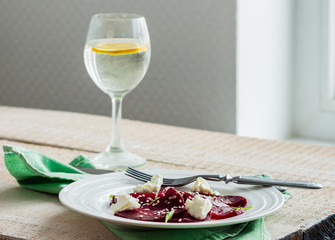roasted beet salad with goat cheese and sesame seeds, snack
