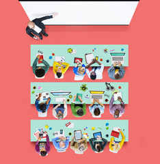 Multiethnic Group of Student Studying Photo Illustration Concept