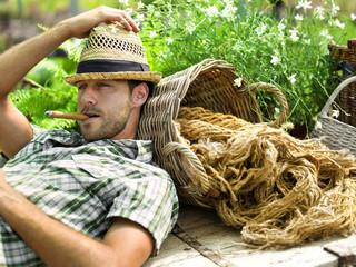 relaxing after gardening hard work