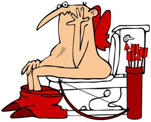 Cupid on the toilet