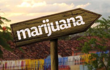 Marijuana wooden sign with an alternative background