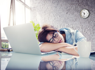 Businesswoman Sleeping Office Break Digital Device Concept