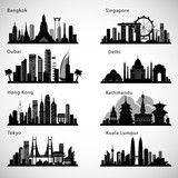Fototapety Asian Cities skyline set. Vector silhouettes