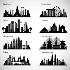 Asian Cities skyline set. Vector silhouettes