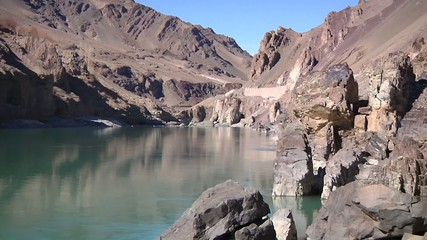 Rocky riverside of Indus River in Ladakh, India