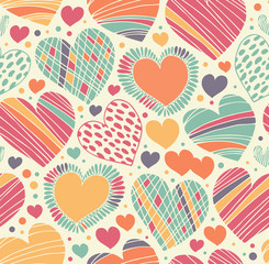 Colorful love ornamental pattern with hearts