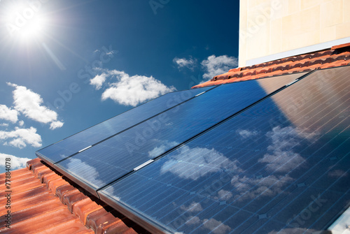 canvas print picture Solar panels producing energy