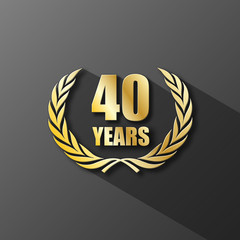 40 YEAR ANNIVERSARY Icon (forty years wreath prize birthday)