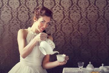 dreamer woman drinking tea at tea time