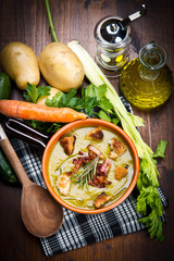soup vegetable on bowl and ingredients