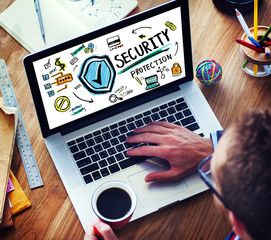 Businessman Online Security Protection Firewall Concept