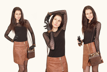 Lovely model three poses in identical clothes