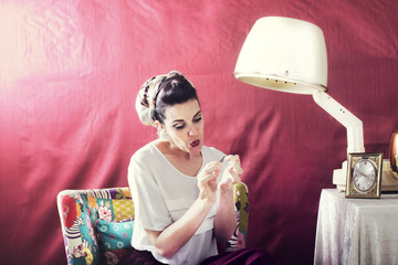 Vintage housewife you cut her nails in beauty salon