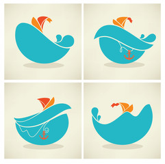holiday on water, vector collection of travel icons