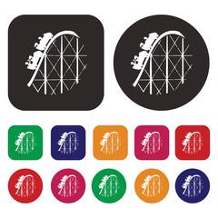 Train ride icon / Roller coaster icon / amusement ride icon