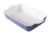 Blue baking dish empty isolated on white. Horizontal close-up