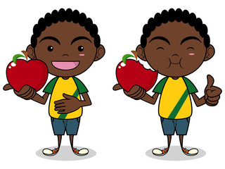 Child eating apple, vector illustration, isolated