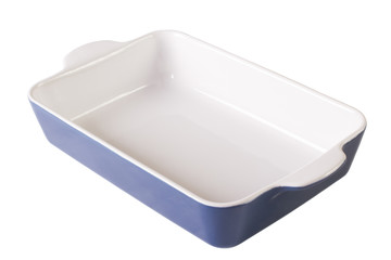 Blue baking dish empty isolated on white. Horizontal close-up