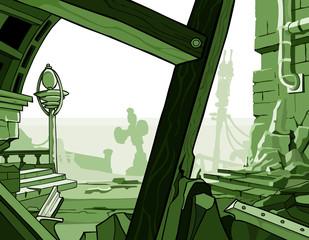 cartoon ruins of houses