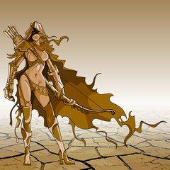 woman warrior with bow and arrow in the style of fantasy, brown