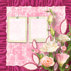 Bouquet of beautiful pink roses with the invitation or congratul