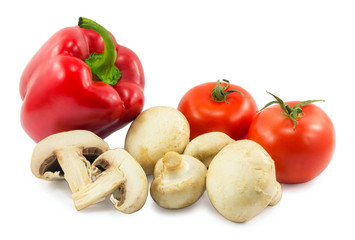mushrooms, red bell pepper and tomato isolated on white backgrou