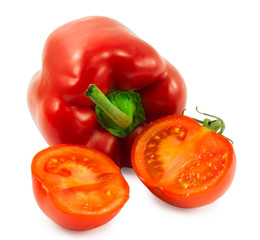 red bell pepper and tomato isolated on white background