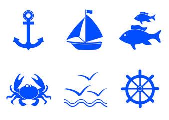 Icones mer - bleu