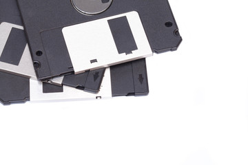 Obsolete diskette isolated on white blackground