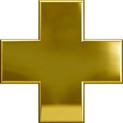 Gold Metallic Cross Plus Symbol